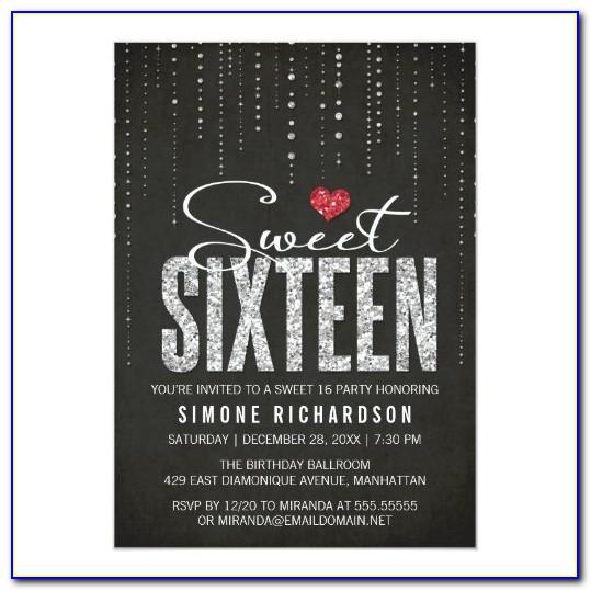 Sweet 16 Birthday Invitation Card
