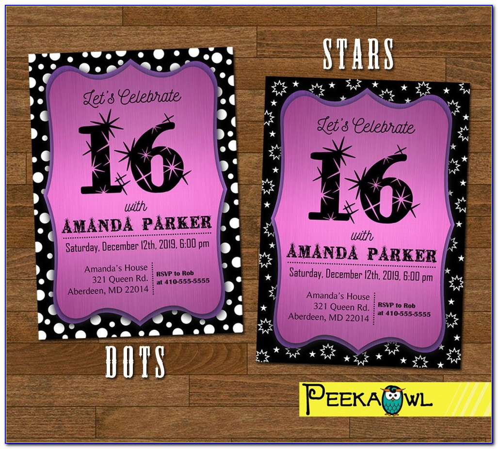 Sweet 16 Birthday Party Invitation Cards