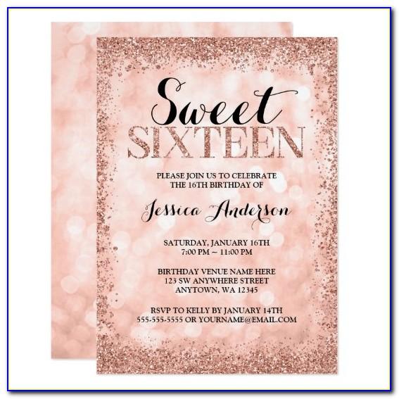Sweet Sixteen Birthday Invitation Cards