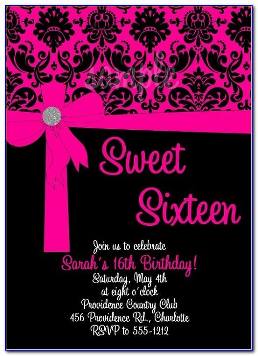 Sweet Sixteen Invitation Cards Birthday Party
