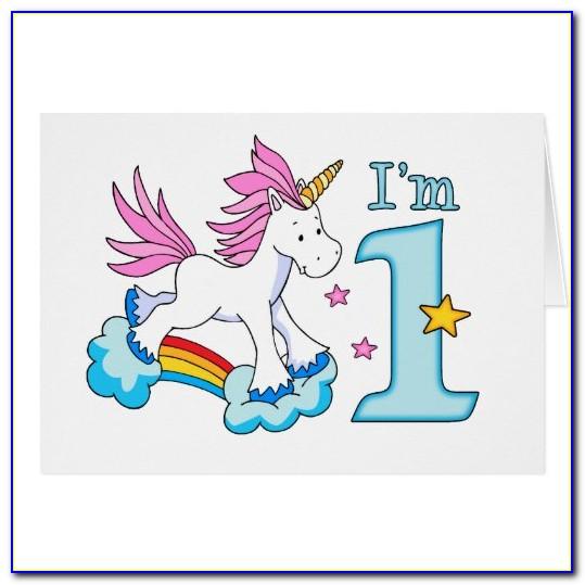 Unicorn 1st Birthday Card