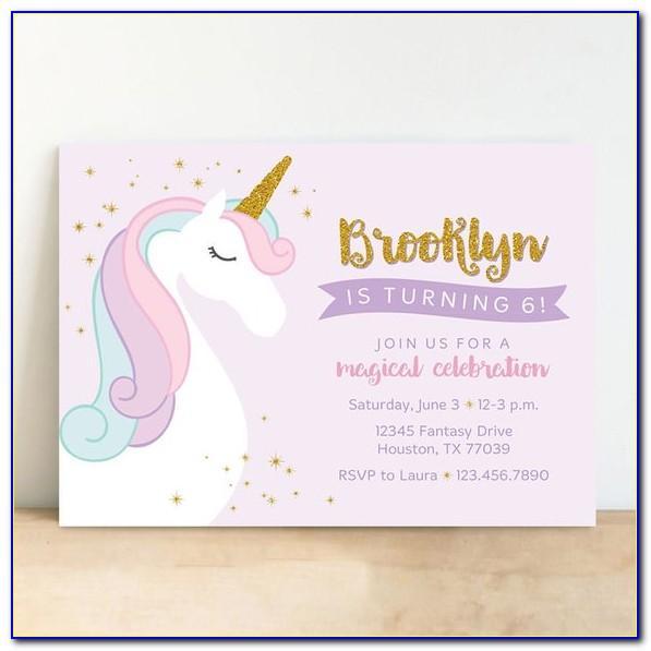 Unicorn Birthday Invitation Card Sample