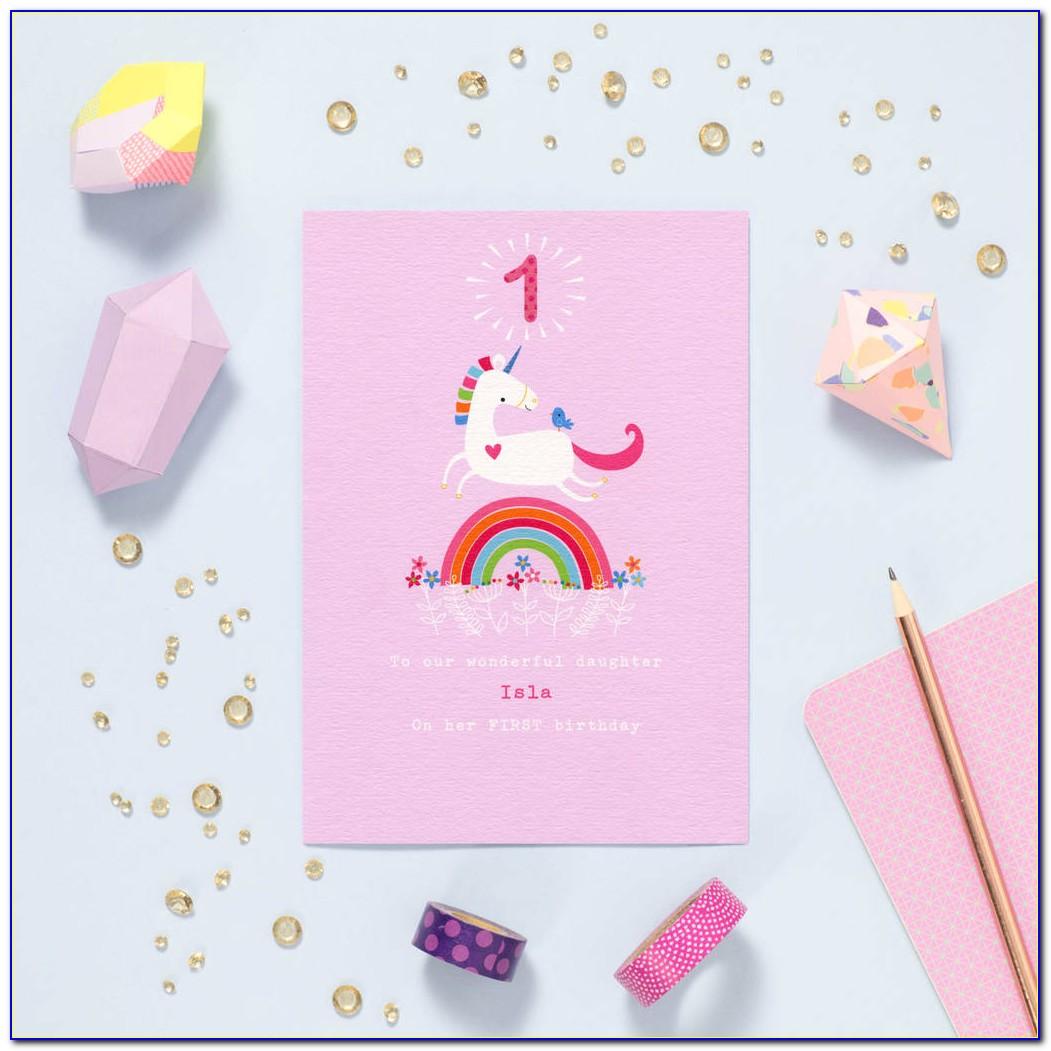 Unicorn Invitation Card 1st Birthday