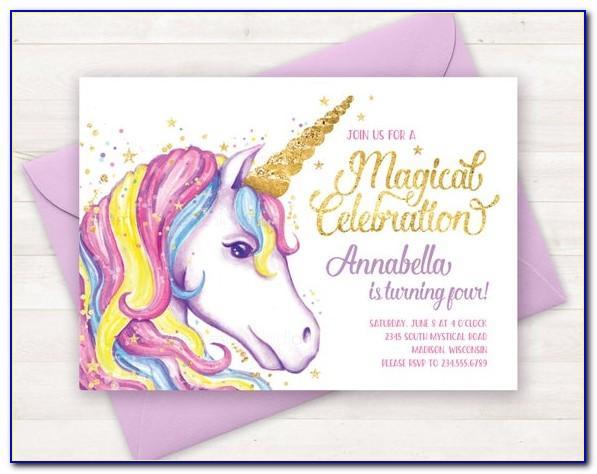 Unicorn Theme Birthday Invitation Card