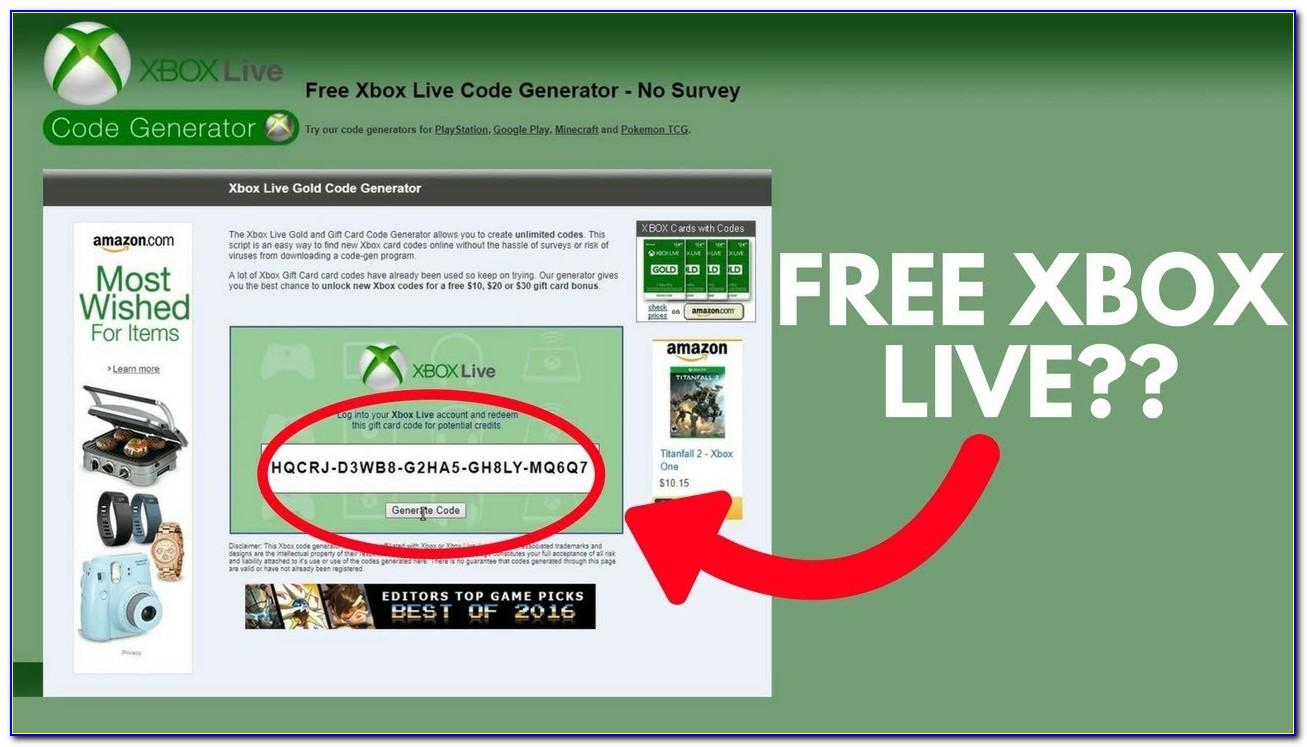 Xbox Live Gold Cards Free