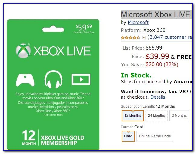 Xbox Live Gold Gift Card Free