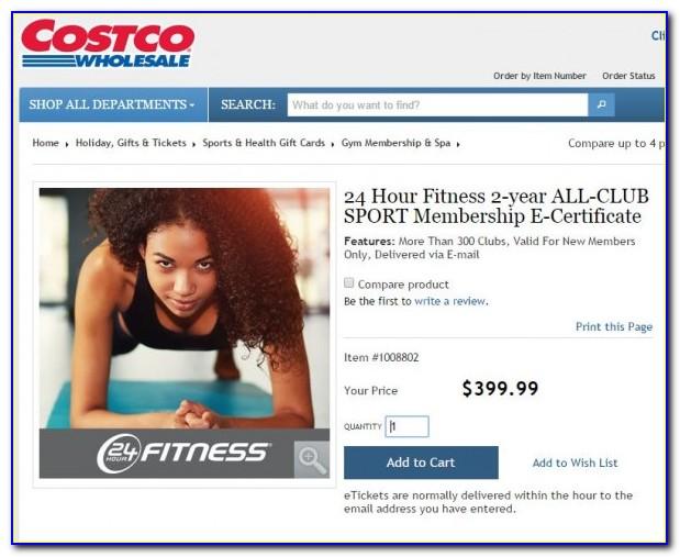 24 Hour Fitness Certificate Costco