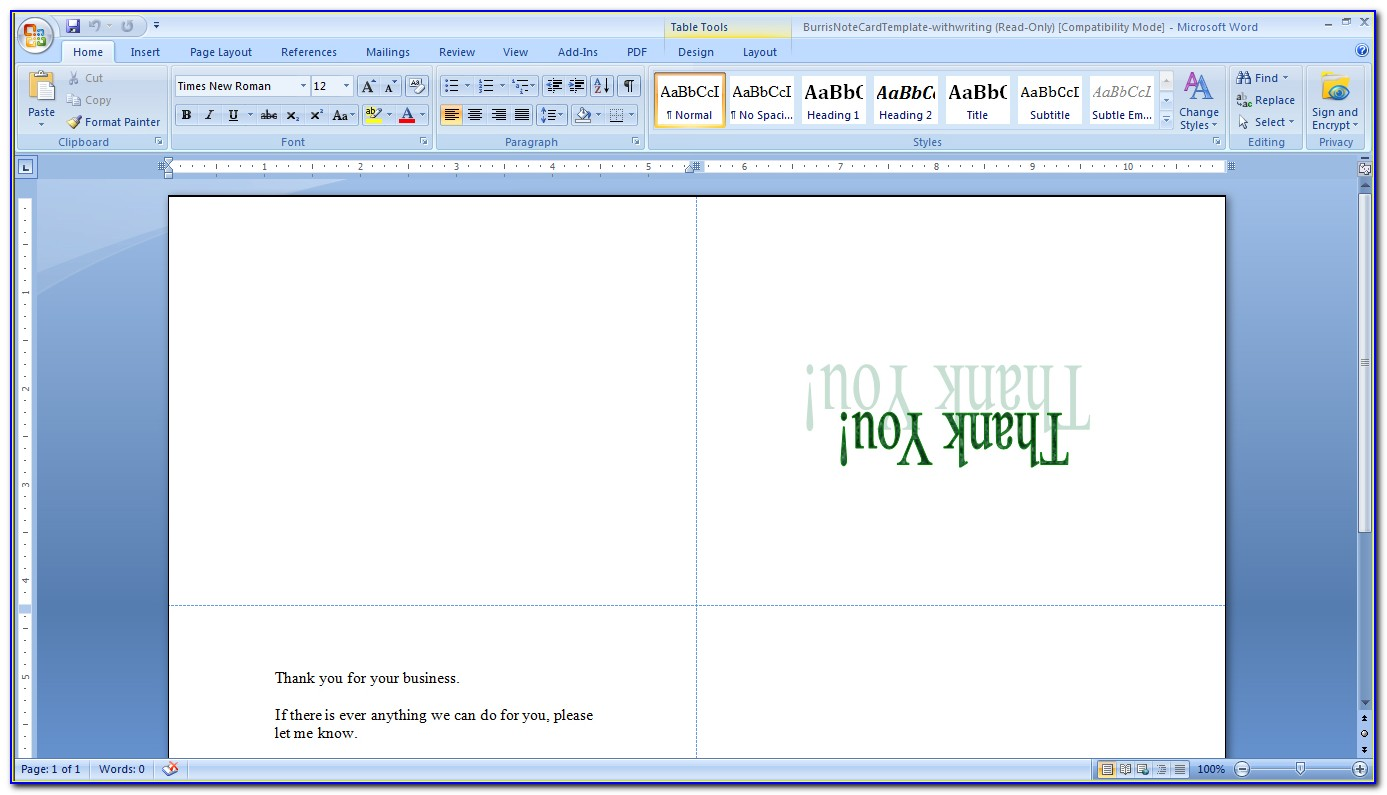 4x6 Note Card Template Word