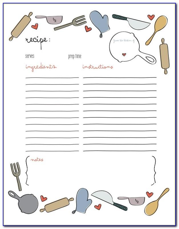 5 X 7 Recipe Card Template