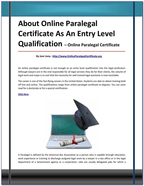 Aba Paralegal Certificate Nj