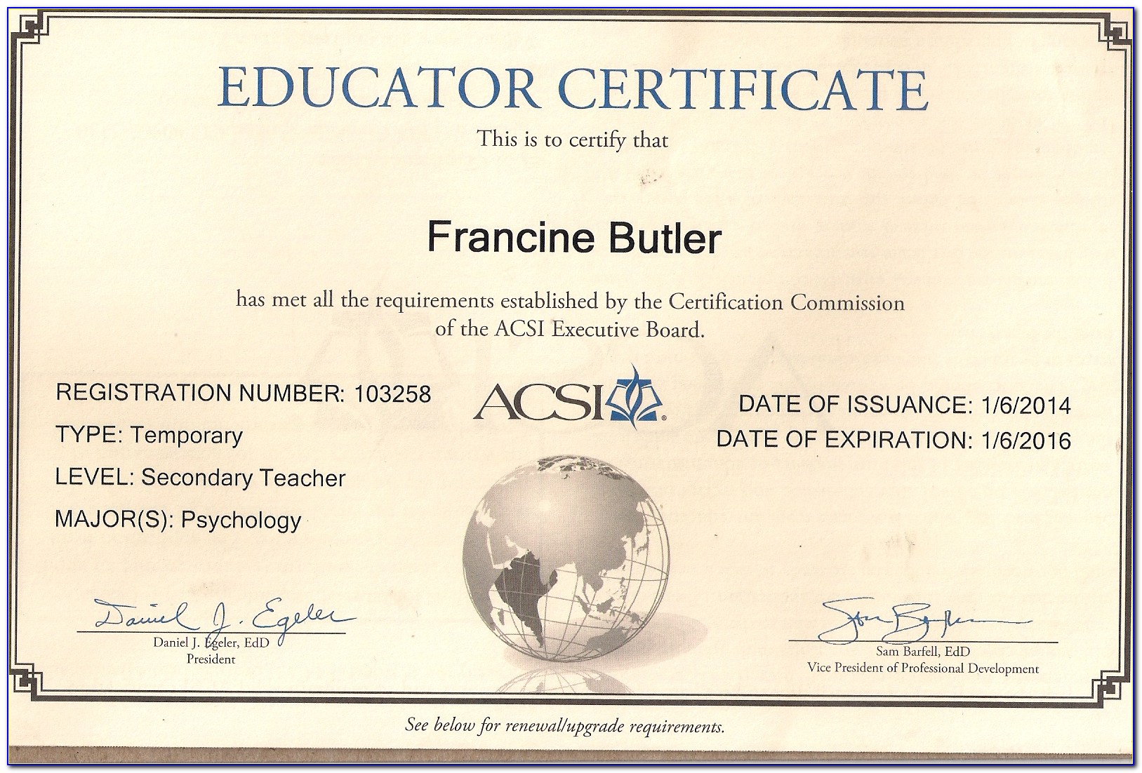 Acsi Teacher Certification Requirements