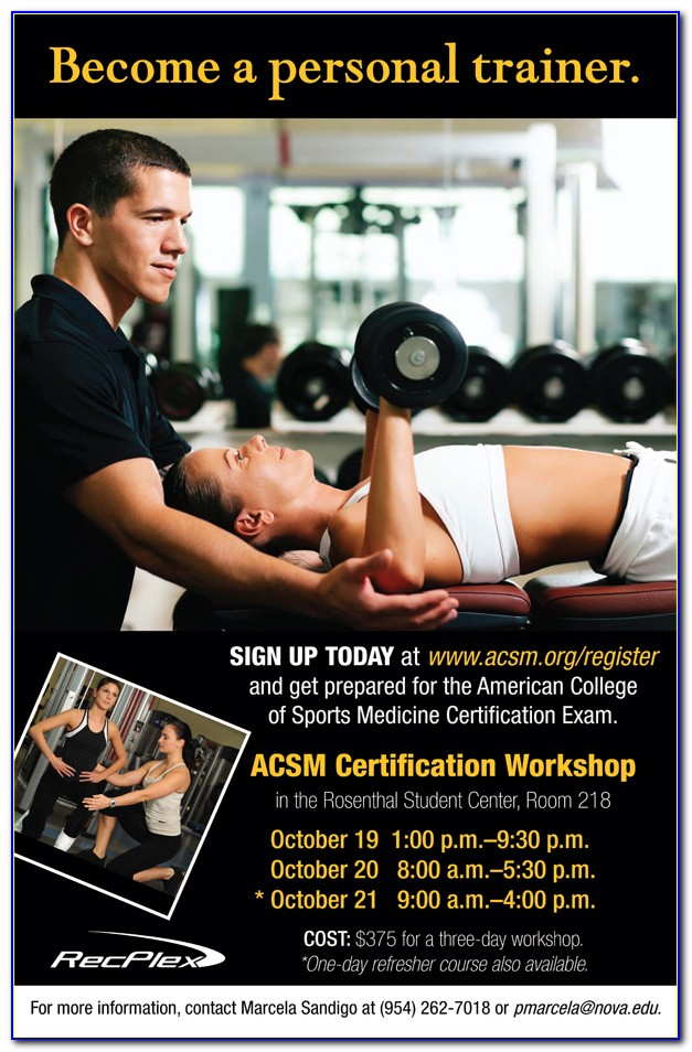 Acsm Personal Training Certification Practice Test