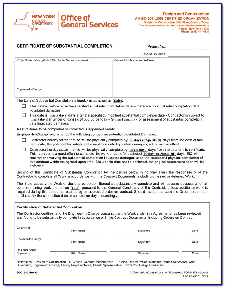 Aia Architect Certificate Of Substantial Completion