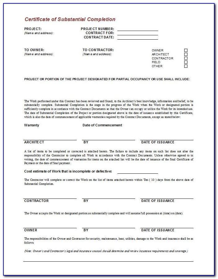 Aia Certificate Of Substantial Completion Form