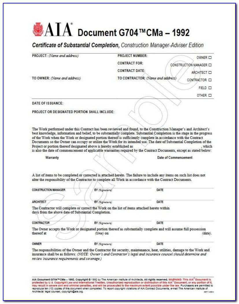 Aia Certificate Of Substantial Completion