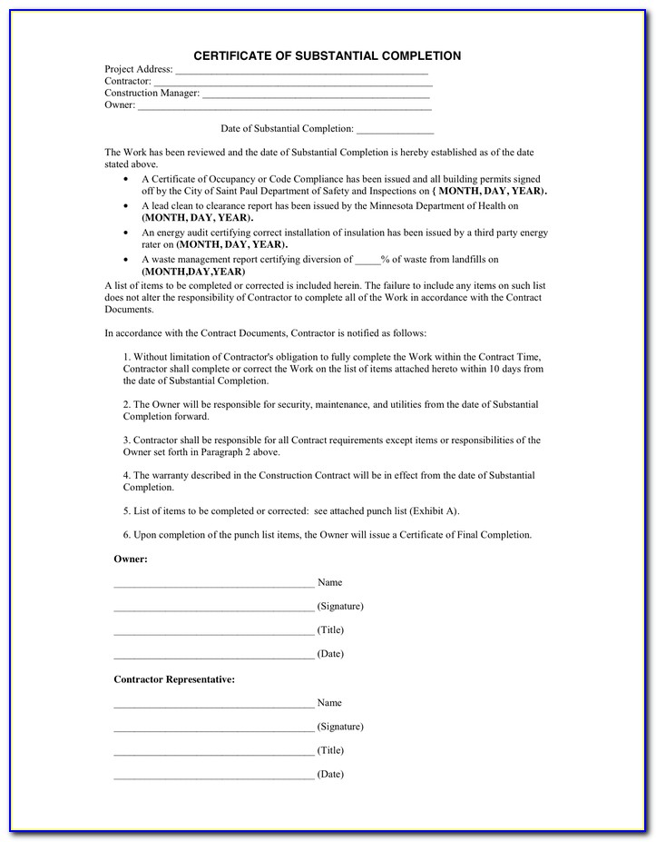 Aia Document G704 Certificate Of Substantial Completion