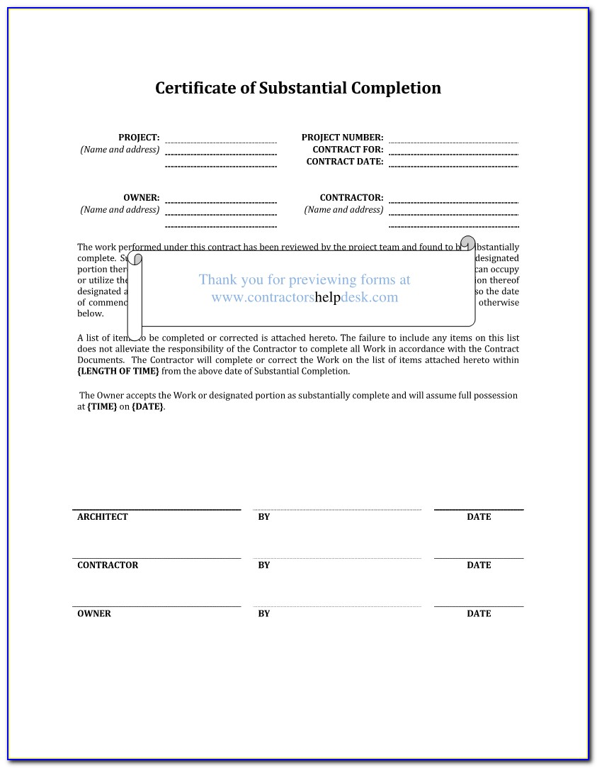 Aia G704 Certificate Of Substantial Completion