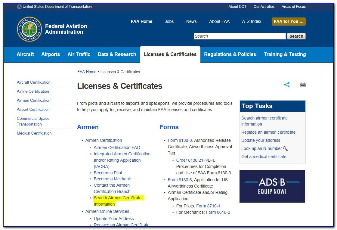 Airman Medical Certificate Search