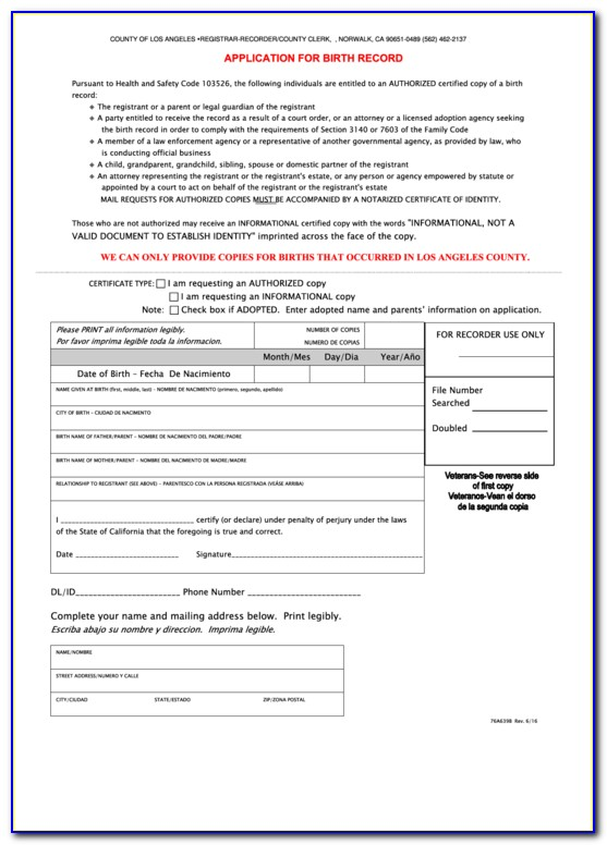 Alameda County Birth Certificate Application Form