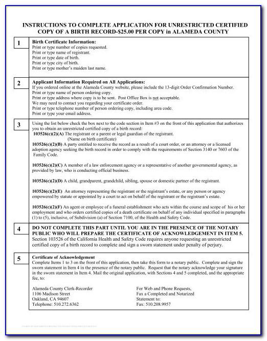 Alameda County Birth Certificate Order