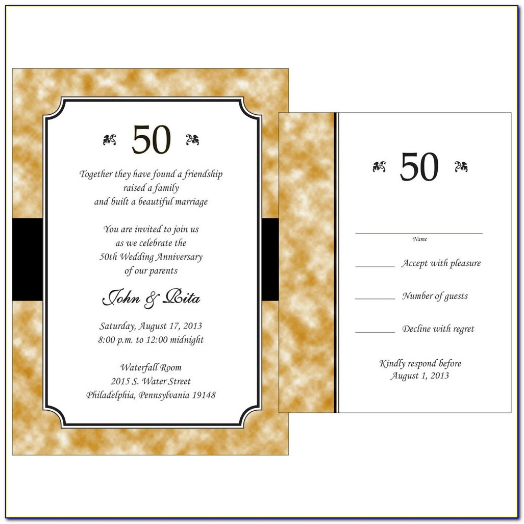 Anniversary Invitations With Rsvp Cards