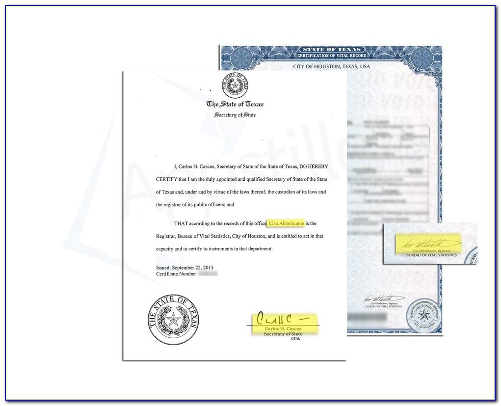 Apostille Birth Certificate El Paso Texas