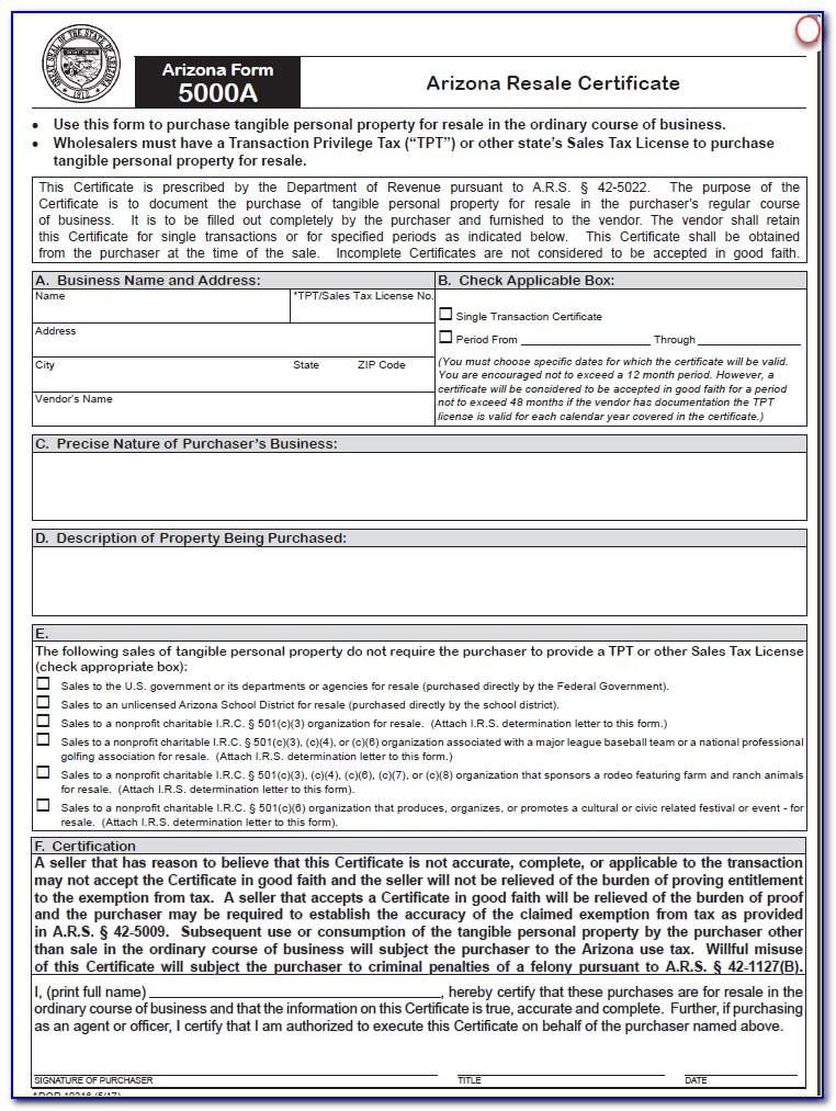 Arizona Resale Certificate 5000