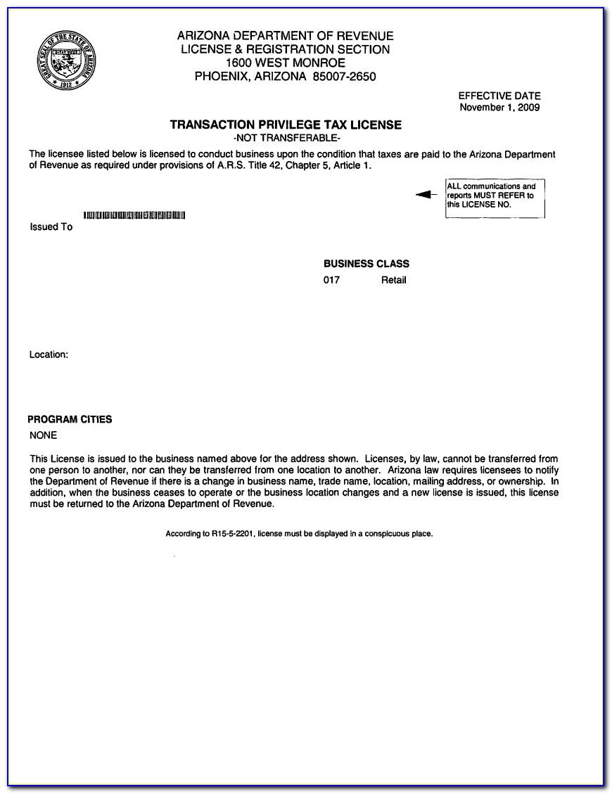Arizona Resale Certificate 5000a Instructions