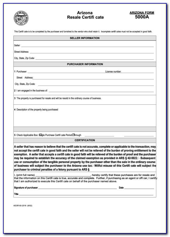 Arizona Resale Certificate Search