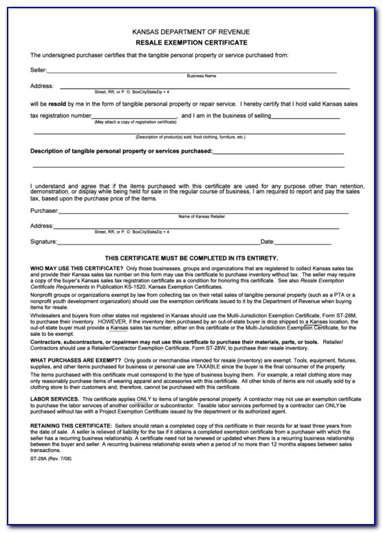 Arkansas Resale Tax Certificate