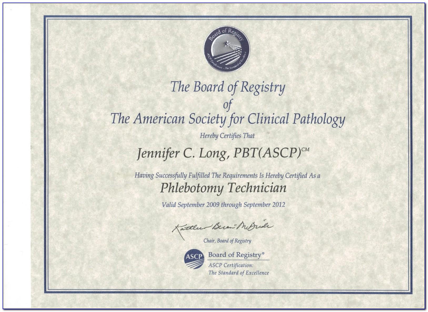 Ascp Phlebotomy Certification Verification