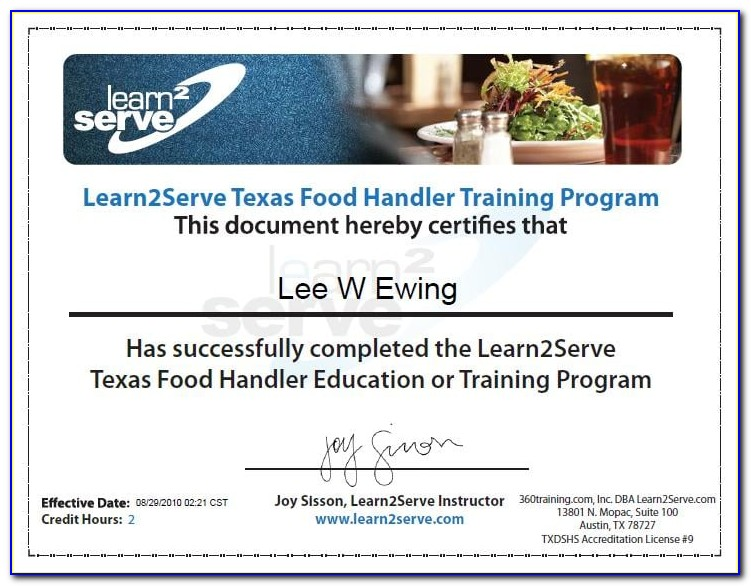 Austin Texas Food Handlers Certification Verification