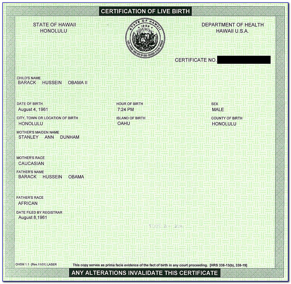 Authenticated Birth Certificate Psa