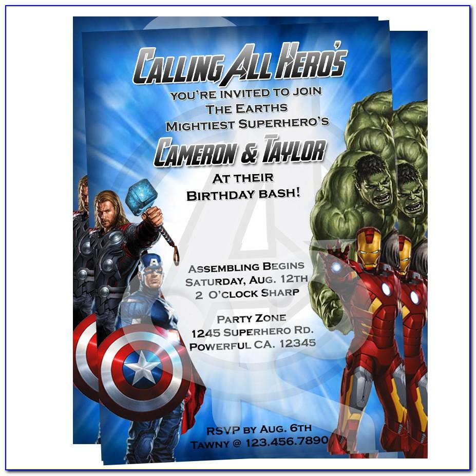 Avengers Invitation Card Template Free