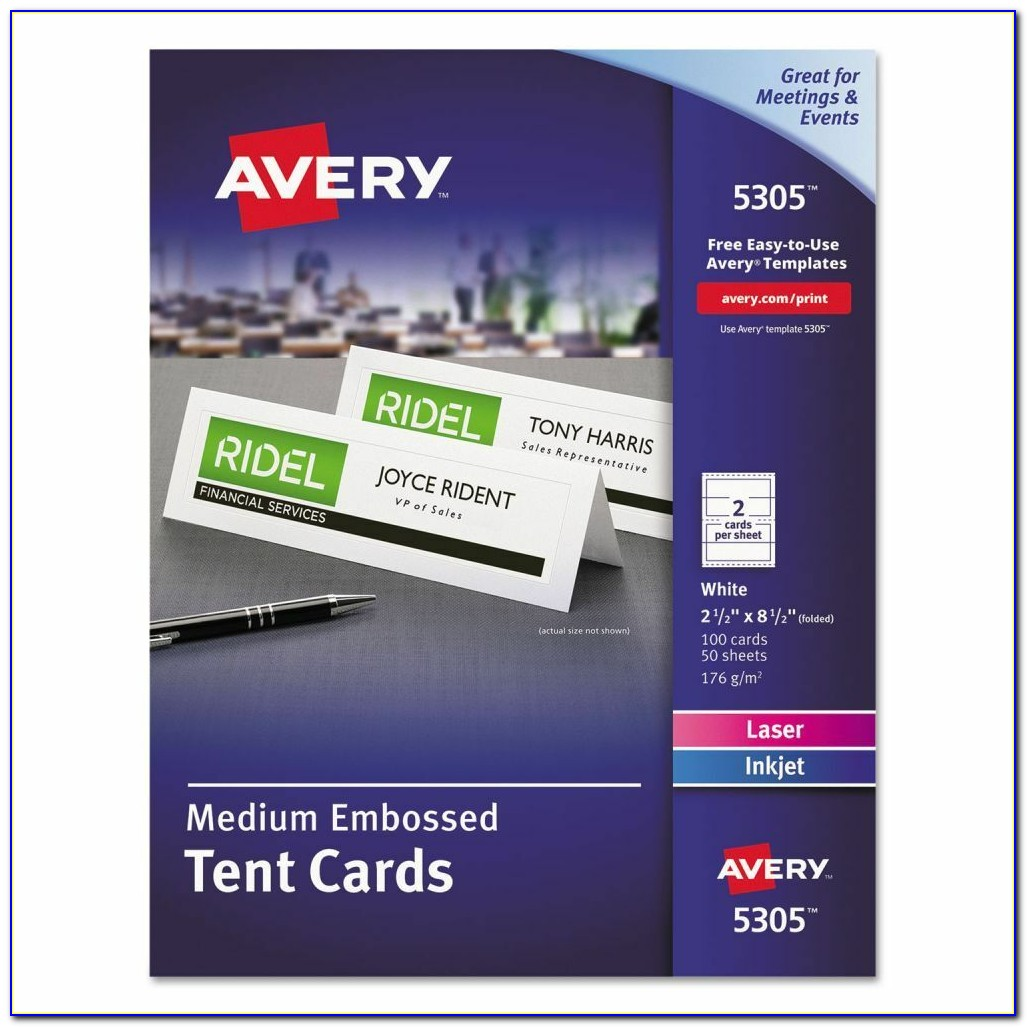 Avery Double Sided Tent Card Template 5305