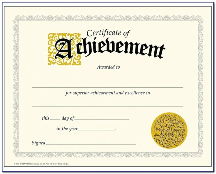 Award Certificate Printable Templates