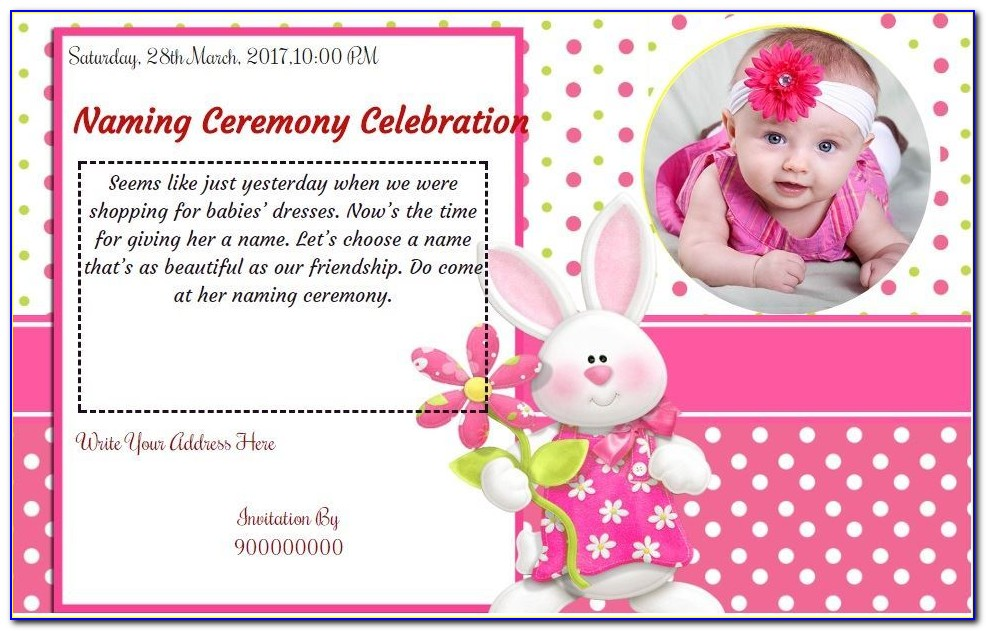 Baby Naming Ceremony Invitation Card Maker