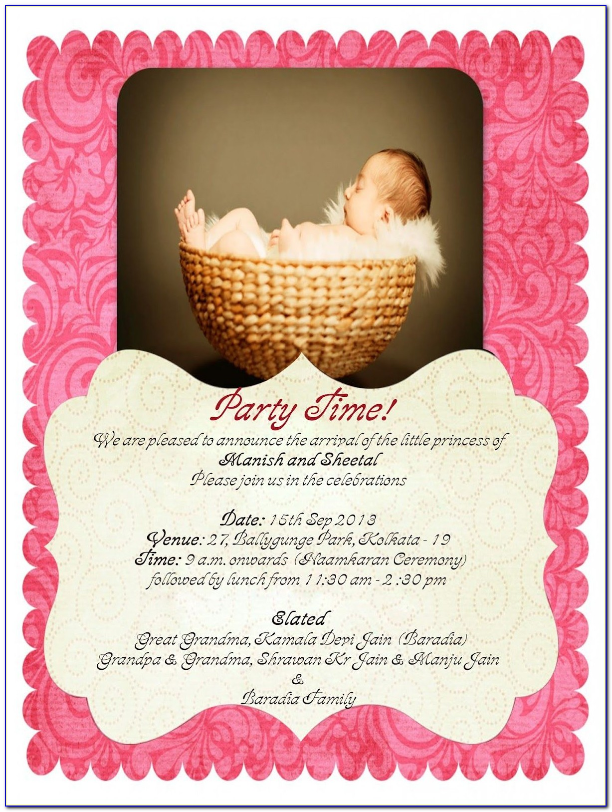 Baby Naming Ceremony Invitation Card Online Free