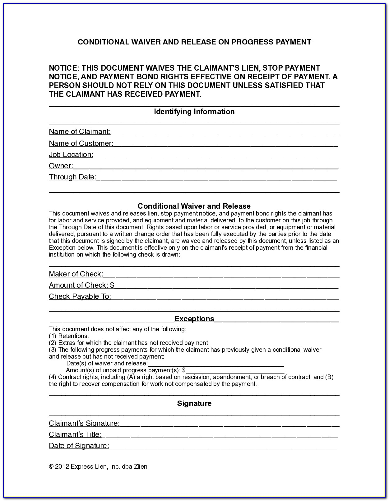Baltimore City Lien Certificate Form