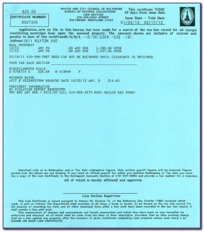 Baltimore City Lien Certificate Request