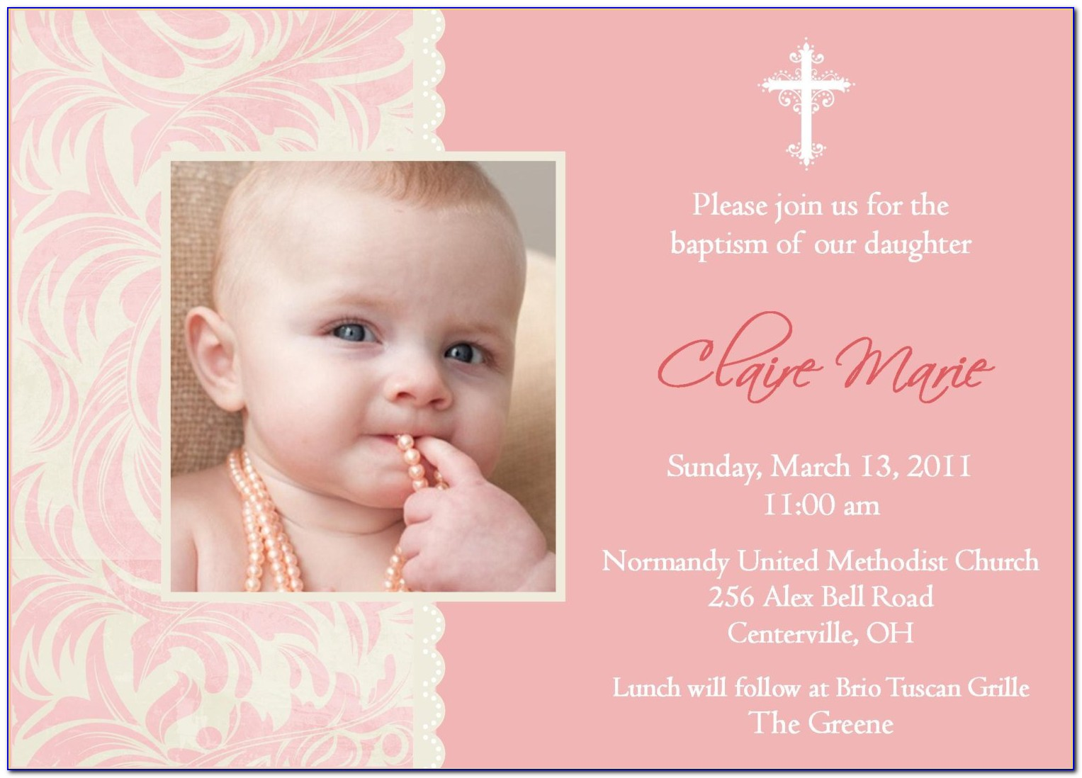 Baptism Gift Card Template