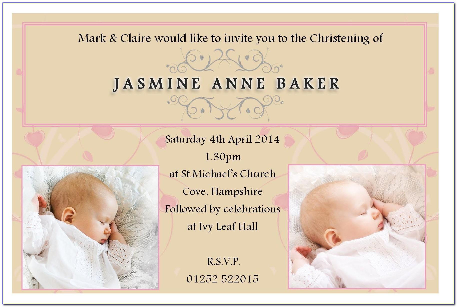 Baptism Greeting Card Template