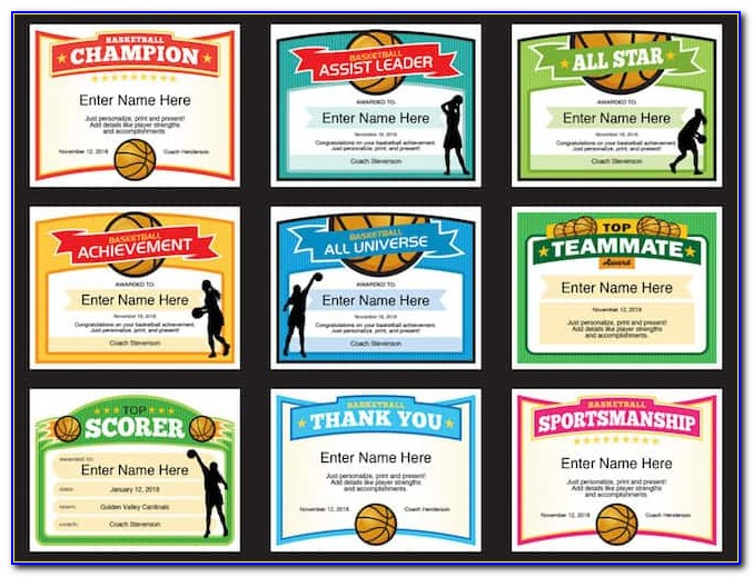 Basketball Awards Certificates Free