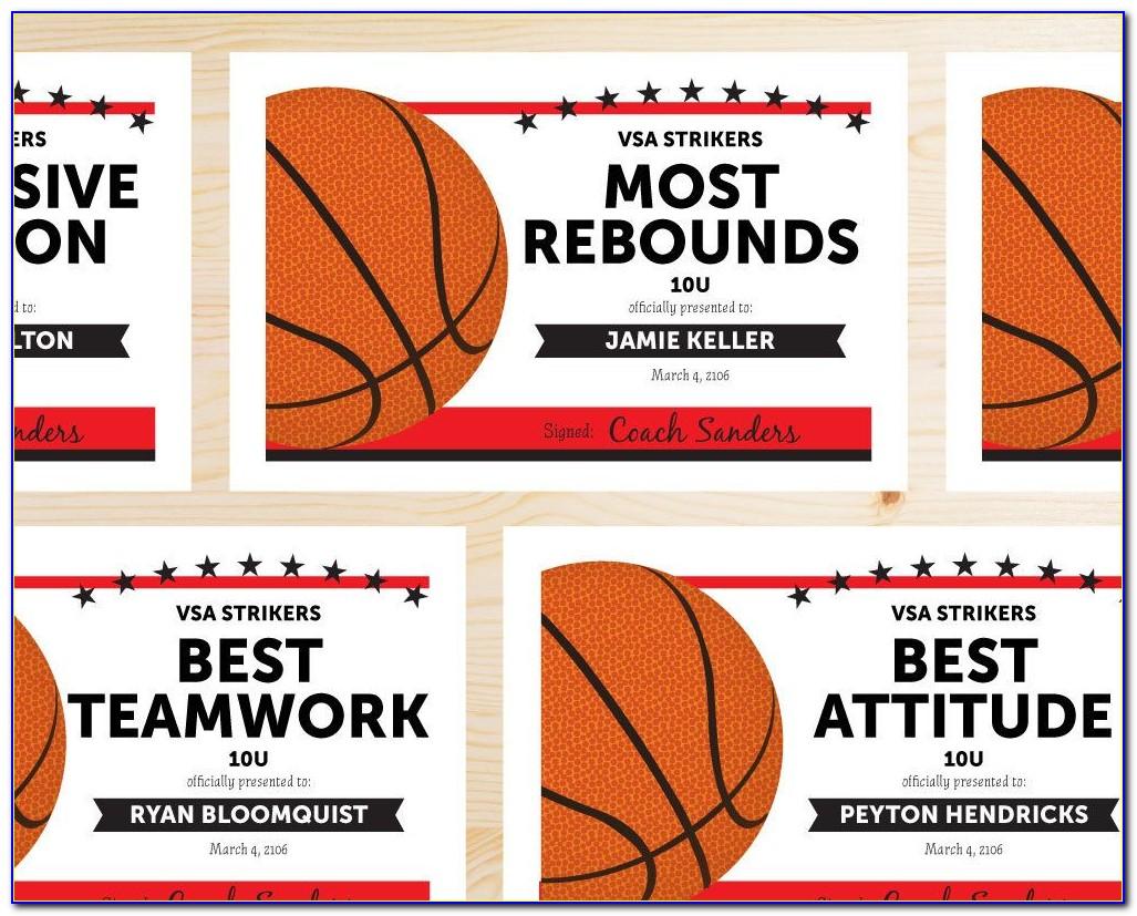 Basketball Awards Certificates Ideas