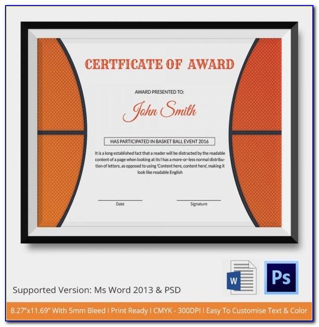 Basketball Coach Award Certificates