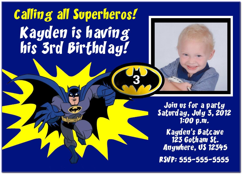 Batman Invitation Card Sample