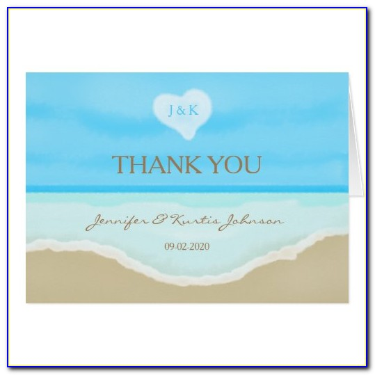Beach Wedding Photo Thank You Cards