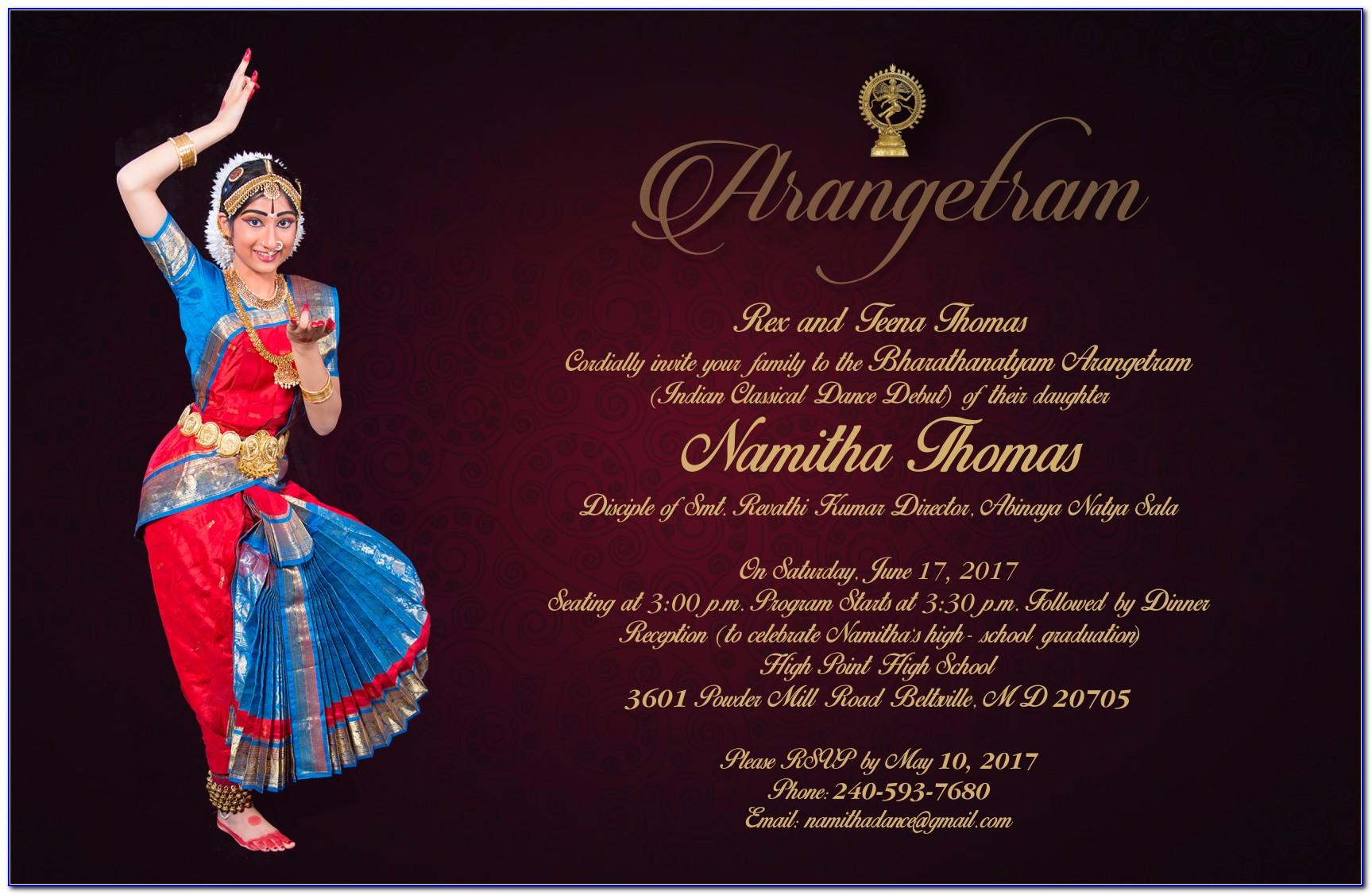 Bharatanatyam Arangetram Invitation Card
