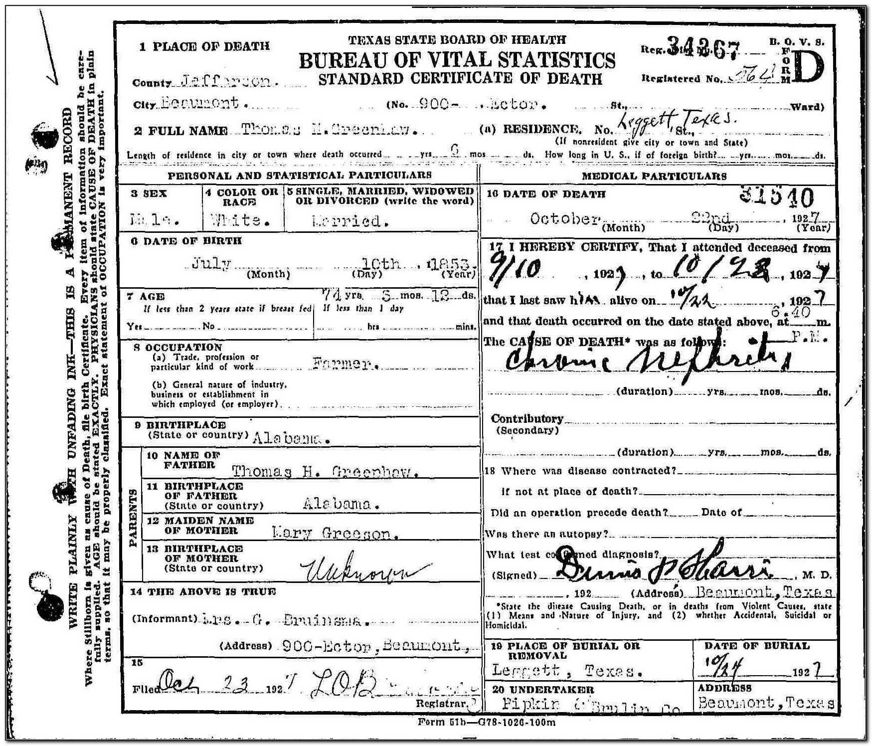 Birth Certificate Beaumont Texas