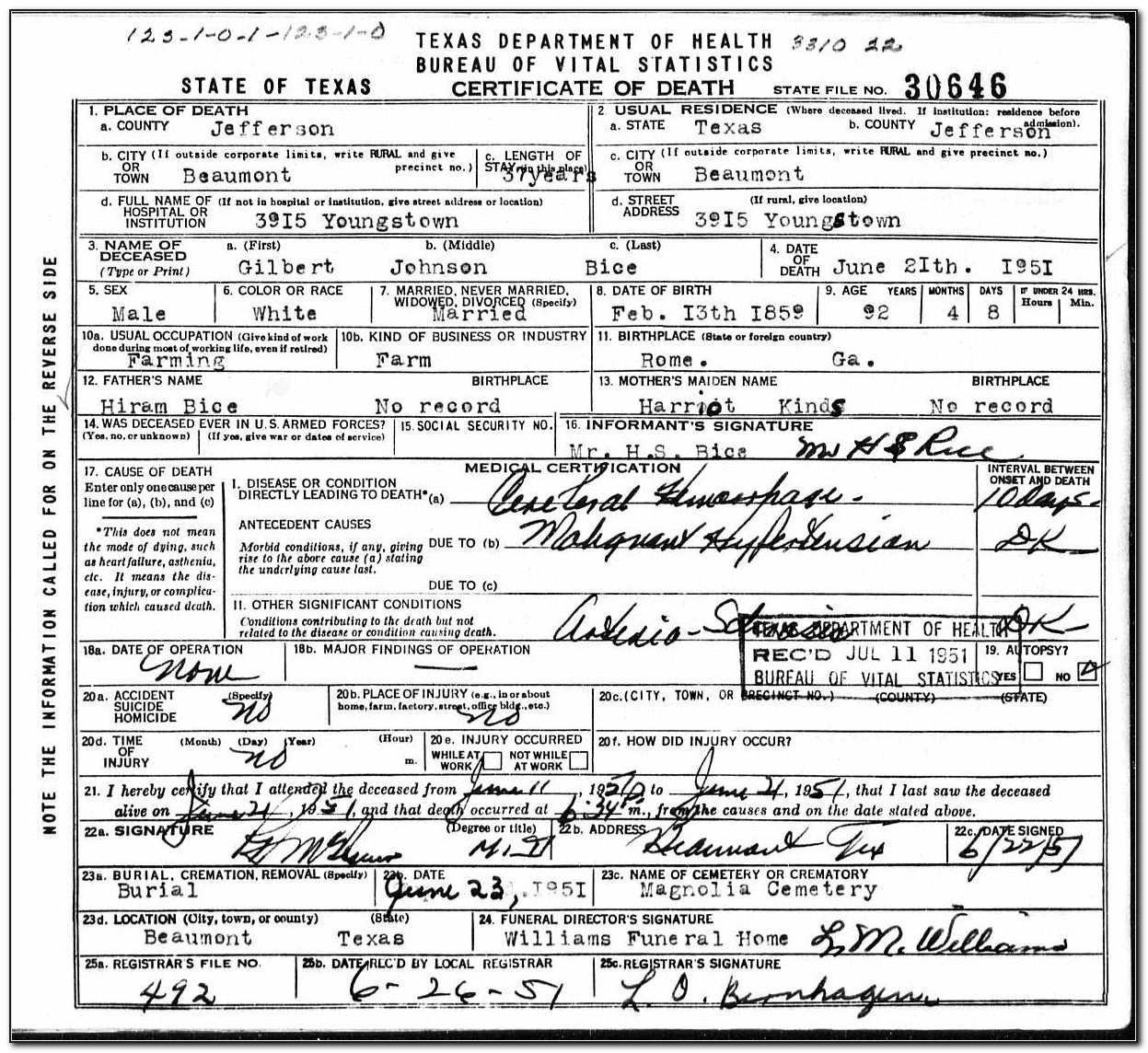 Birth Certificate Bmt Tx